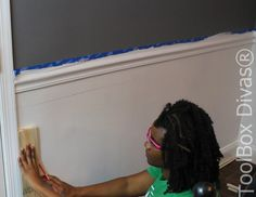 How to Install Picture Frame Moulding Wainscoting - ToolBox Divas Installing Wainscoting, Wainscoting Height, Black Wainscoting, Wainscoting Nursery, Wainscoting Kitchen, Painted Wainscoting, Dining Room Wainscoting, Wainscoting Panels, Stair Paneling