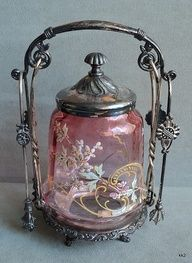 Victorian Enamel Flowers Pickle Jar, Lid, 2 Tong, Meriden Silverplate Castor Set