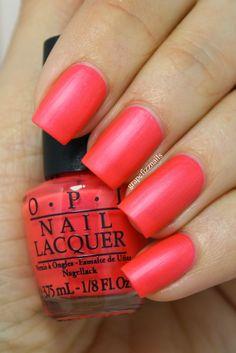 OPI - Down To The Core-al - is a super hot coral with coral shimmer! 2 COATS #nail #nails #nailpolish