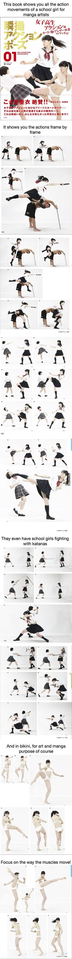 There's a reference book to teach you how to draw fighting school girls - 9GAG