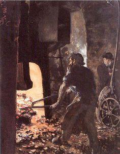 Self-Portrait with Worker near the Steam-hammer Adolph von Menzel (1815 - 1905)