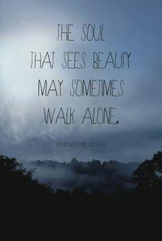 a alma que vê a beleza pode, às vezes, andar sozinho