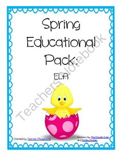 Spring Educational Pack: ELA from kristenthernandez8 from kristenthernandez8 on TeachersNotebook.com (66 pages)  - You and your students will love this fun filled educational pack with a Spring theme. In this pack you get over 60 pages of activities.  The topics in this pack include: ABC Cut and Arrange Opposites Adjectives and Adverbs Create Your Own Story Fill-in-th