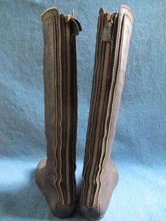 Cynthia Vincent Blk Flat Nubuck Knee High Boots w Back Zipper Design Detail Fab | eBay