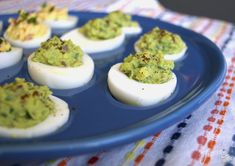 Serving healthy Avocado Deviled Eggs on Lapis Fiesta® Egg Tray ~ find the recipe at alwaysfestive.com   Fiesta Dinnerware, Always Festive