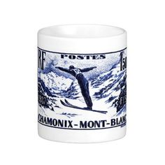 Shirts, clothing, drink ware, iphone, ipod and ipad covers, home accessories featuring an antique 1938 engraved postage stamp depicting a ski jumper in mid flight and issued by France to promote the International Ski Federation (FIS) skiing competition held in Chamonix-Mont-Blanc.  #france, #chamonix, #ski, #postagestamp, #montblanc, #wintersport, #french, #ephemera, #vintage, #alps, ,#downhill, #skijump, #coffeemug
