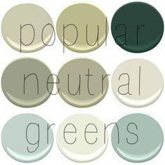 Top Selling Benjamin Moore Greens: Camoflauge, Georgian Green, Hunter Green, Louisberg Green, Nantucket Gray, November Rain, Palladian Blue,...