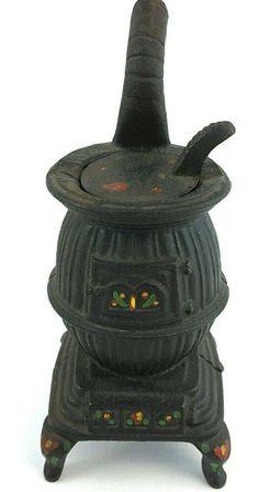 Vintage Cast Iron Hand Painted Mini Pot Belly Stove Pot Belly Stove Hand Painted Iron Hand