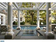 pool pergola fireplace | Home Exterior ~ Stone ~ Patio ~ Pool ~ Pergola