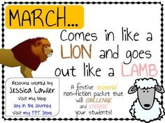 """""""March Comes in like a LION and goes out like a LAMB"""" Nonfiction Unit from Joy in the Journey $4"""