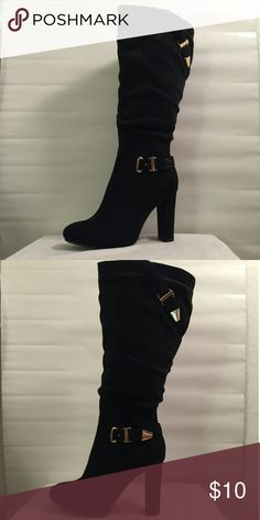 Faux suede knee high boots Never worn. They have a bit of dust from being in my closet but still look and are in great condition. Box not included. Heel height 3.5 in.  Open to offers⭐ Please feel free to ask questions😊 Shoes Heeled Boots
