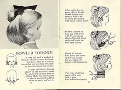 Bowler Top Knot, from the original 1960's hair brochure.