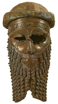 Ch 2: Ancient Sumeria. Befoe 2300 BC. Bearded man, the hair and beard arranged in small curls perhaps made with curling irons.  The King's beard was longer than that of other men, and supplemented with a false section.  Usually Lower-class men had shorter beards and hair.