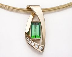 14k gold, green tourmaline and diamond pendant designed by David Worcester for VerbenaPlaceJewelry.Etsy.com