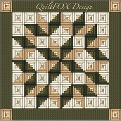 TThe popular Carpenter Star built from Log Cabin blocks in beige, brown and green - it would look great in other color combinations as well. The pattern contains the following information:  - yardage calculation - exact sizes and numbers of each pieces to cut - block piecing and quilt assemble guide demonstrated with lots of images and easy to follow - link to my animated Log Cabin Chain Piecing Tutorial on youtube  You will be able to create the quilt on the picture or any other quilt using…