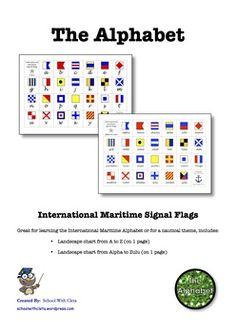 International Maritime Signal Flags Alphabet Charts With Cursive Writing Alphabet Charts, English Resources, Zulu, Cursive, Nautical Theme, Homeschooling, Flag, Writing, Landscape