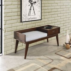 WYNDENHALL Tierney Mid-century Entryway Storage Bench   Overstock.com Shopping - The Best Deals on Benches