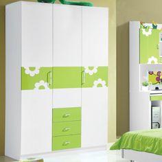 Белый шкаф с зелеными рисунками и ящиками снизу в детскую комнату купить https://lafred.ru/catalog/catalog/detail/37532989644/