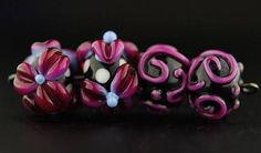 Hot Pink Flower and Scroll  Handmade Lampwork Glass Bead Set