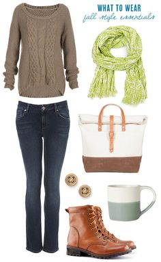 Fall fashion essentials | The Sweetest Occasion I like how a coffee cup is part of the fall style!