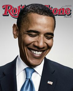 Rolling Stone- Peter Yang portrait of a smiling Obama