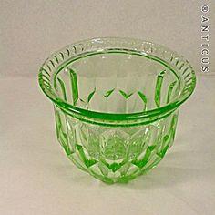 Green Depression Glass Posy Bowl or Vase