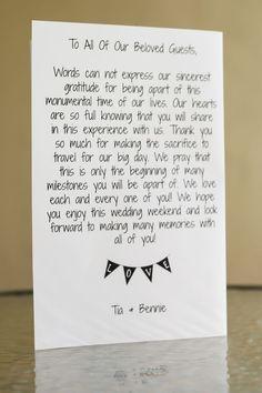 Letter for destination wedding welcome bag