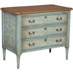 Floral Painted Bead Chest (1,560 CAD) ❤ liked on Polyvore featuring home, furniture, storage & shelves, dressers, chest, table, drawer furniture, painted dresser, painted furniture and handpainted furniture