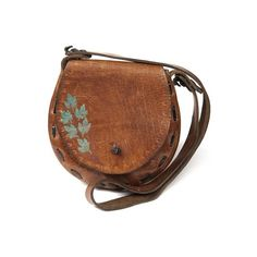 Tan Leather Satchel W/ Painted Leaf Design - Vintage clothing from... ❤ liked on Polyvore featuring bags, handbags, purses, accessories, сумки, brown leather satchel, man bag, tan leather purse, vintage leather satchel and leather satchel