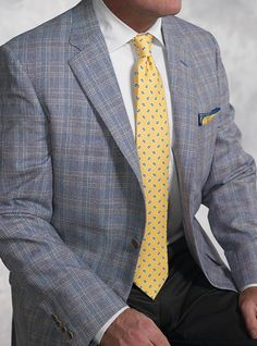 Regal Blue and Cream Glen Plaid Sport Coat