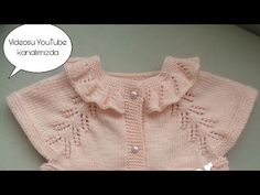 Chaleco de bebé con cuello de volantes parte / Cómo hacer un collar de volantes, Baby Cardigan Knitting Pattern, Baby Knitting Patterns, Crochet For Kids, Crochet Baby, Little Dresses, Girls Dresses, Baby Barn, Hand Embroidery Videos, Knitting Videos