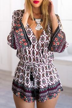 Ethnic Print Long Sleeve Playsuit: Jumpsuits & Rompers | ZAFUL