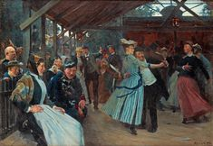 Erik Henningsen - The Dance Pavilion [1891] | Erik Henningsen (Copenhagen, August 29, 1810 - Copenhagen, November 28, 1930) was a Danish painter and illustrator. He also depicted the lighter aspects of human life, as in his paintings of street life in Copenhagen. During the two first decades of the 20th century he mainly painted genre works from the lives of the bourgeoisie.