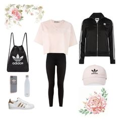 """All Adidas"" by courtneynatalie ❤ liked on Polyvore featuring adidas, adidas Originals and S'well"