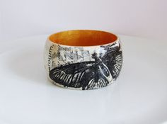 Wood Bangle Vintage Decoupage by UniquelyUJewellery on Etsy, £20.00