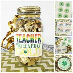 Teacher Pot of Gold Gift Idea Easy Arts And Crafts, Easy Crafts For Kids, Fun Crafts, Simple Crafts, Pot Of Gold, Rainbow Birthday, Inexpensive Gift, Easy Gifts, Kid Friendly Meals