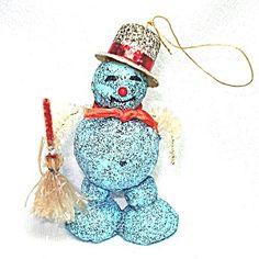 Blue Mica Cardboard Snowman Christmas Ornament