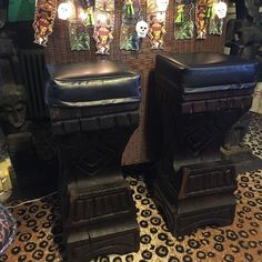 Score! Two new Witco tiki bar stools for the Dead Elvis Lounge.