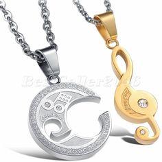 2 Partner Anhänger Partnerkette LOVE Musik Notenschlüssel Edelstahl Gold Silber