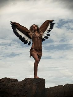 Wings, bird, native, tribal - editorial, avant garde, chic, high fashion, #costume #halloween #fashion More