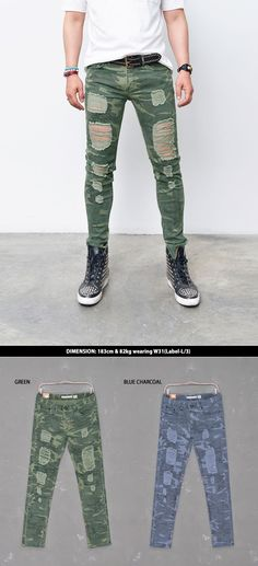 Bottoms :: Pants :: Camouflage Damage Skinny-Pants 180 - Mens Fashion Clothing For An Attractive Guy Look