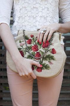 Bag with strawberry embroidery