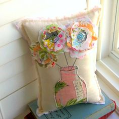 Flower Pillow, Bouquet Pillow, Appliqued Pillow, Novelty Pillow, Flower Vase Pillow, Stitched Flower Pillow - Happy Bloom Pillow , Soft Sculpture Whimsical, appliqued Flower Pillow. Approx. 8 x 11.5. This pillow is full of color, texture, pretty embellishments and appliques - part of my Happy Bloom Collection. Made from both new and re-purposed fabrics. Ive used black and various colored threads to sew details in a technique I call Stitched Doodles. ----- Great Valentines Gift that can be…