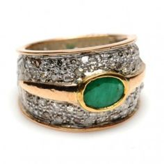 2.28Ct Pave Diamond Emerald Cocktail Ring 14K Gold 925 Sterling Women Jewelry