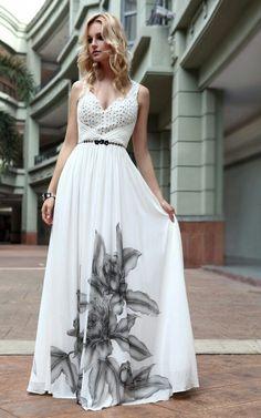chiffon-natural-floral-print-elegant-long-white