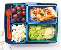 Pizza Party        1 slice leftover cold veggie pizza cut into squares        3/4 cup cucumber moons with 2 tablespoons hummus        1/2 cup purple grapes        1/2 cup popcorn