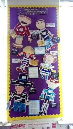 Charlie and the Chocolate Factory display: Character Descriptions. The children discuss the 6 main characters in the story and choose the Top 10 adjectives to describe each character. Each group then makes a collage of the character from their descriptions in the book. Lovely activity and the kids love it