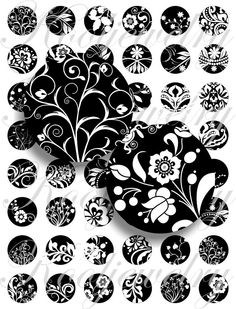 Black and white images for bottle caps, pendant, buttons, scrapbook and more Vintage Digital Collage Sheet No.322. $2.50, via Etsy.