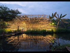 suggesting a mound of straw within a countryside garden, MIA design studio's timber pavilion appears to blur and dissipate outward. Pavilion Design, Pavilion Architecture, Landscape Architecture, Architecture Design, Organic Structure, Studio Build, Wooden Cabins, Over The River, Built Environment