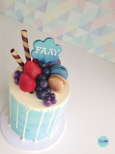 light blue #nakedcake with a delicious white chocolate drip. #Birthdaycake